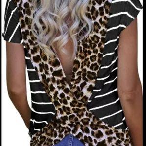 Tops - Stripe Black Leopard Printed Open Back Shirt
